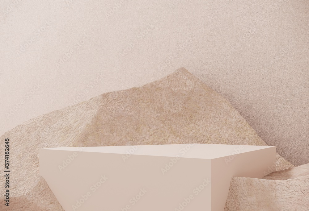 Fototapeta Premium podium made of paper on pastel background with plant branches,leaves,pebbles and natural stones.Mock up for the exhibitions,presentation of products, therapy, relaxation and health -3d render.