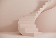 Staircase With Steps -podium,stand For Shoes, Cosmetics Product On Pastel, Light Background- 3D,render. Studio With Geometric Objects. Architectural Background For Advertising Products, Presentations.