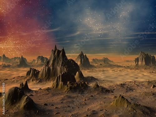 Obraz na plátně 3D illustration of science fiction landscape
