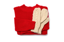 Knitted Sweater And Mittens Is...