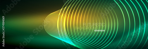 Shiny neon lines, stripes and waves, technology abstract background. Trendy abstract layout template for business or technology presentation, internet poster or web brochure cover, wallpaper