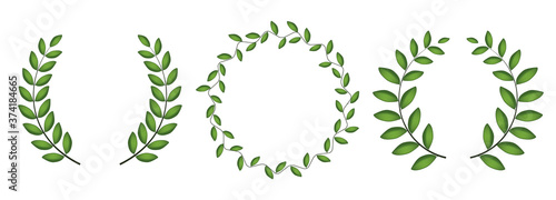 Laurel wreath silhouette collection set isolated on white background Fototapeta