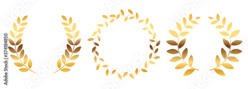 Laurel wreath silhouette collection set isolated on white background Fototapet