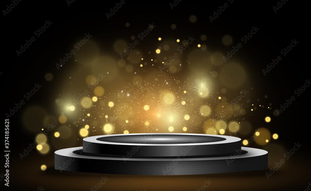 Fototapeta Round podium, pedestal or platform, illuminated by spotlights in the background. Vector illustration. Bright light. Light from above. Advertising place