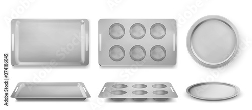 Fototapeta Trays for baking muffins, pizza and bakery top and front view, empty tin pans, isolated rectangle and round forms. Kitchen utensil for oven, silver metal dishes for cooking, Realistic 3d vector set obraz