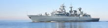 Large Grey Modern Warship Sail...