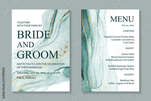 Fototapeta Modern abstract luxury wedding invitation design or card templates for birthday greeting or certificate or cover with teal watercolor waves or fluid art in alcohol ink style with gold on a white