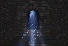 Magic Moonlight. The Open Door Of A Stone House. Vector Illustration