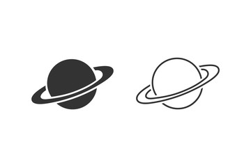 Saturn line icon set in flat style. Planet vector illustration on white isolated background. Galaxy space business concept