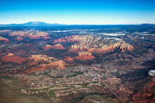 Aerial View Of Oak Creek And Sedona, Arizona In December 2011