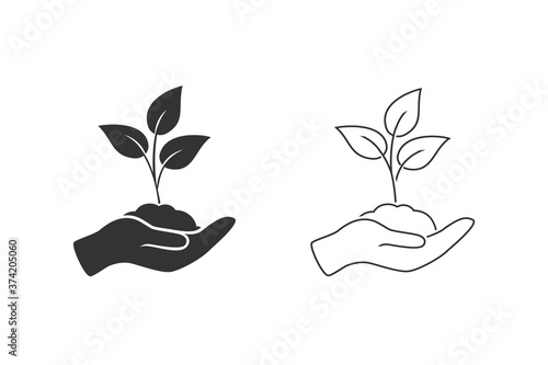 Leaf and hand, care nature line icon set vector Wallpaper Mural