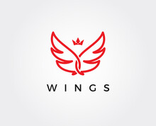 Minimal Wings Logo Template - Vector Illustration