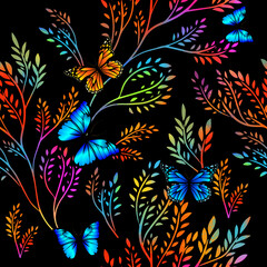 Panel Szklany Współczesny Butterflies with colorful twigs. Seamless background. Mixed media. Vector illustration
