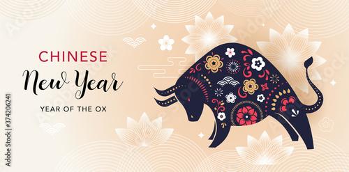 Obraz Chinese new year 2021 year of the ox - Chinese zodiac symbol - fototapety do salonu