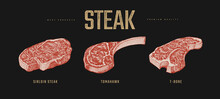 Set Of Slices Steaks Vector Il...
