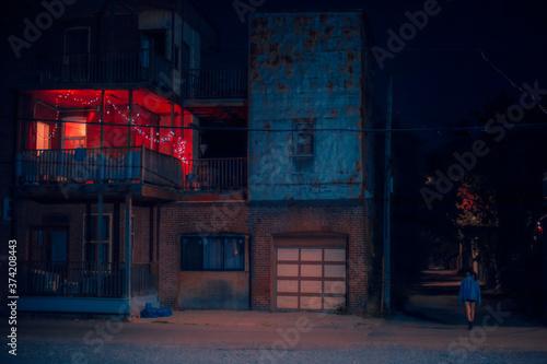 Decorated balcony at night 2 Fototapeta