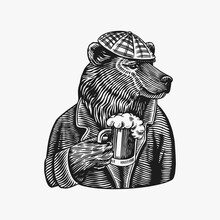 Grizzly Bear With A Beer Mug. Brewer With A Glass Cup. Fashion Animal Character. A Wild Beast In A Newsboy S Cap. Hand Drawn Sketch. Vector Engraved Illustration For Logo And Tattoo Or T-shirts.
