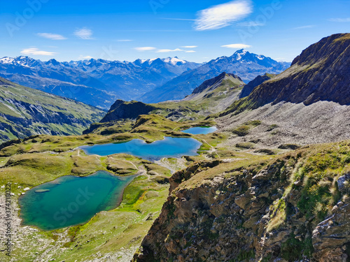 Lakes of Forclaz or the Five Lakes, near Bourg Saint Maurice, Savoy, french alps Canvas Print