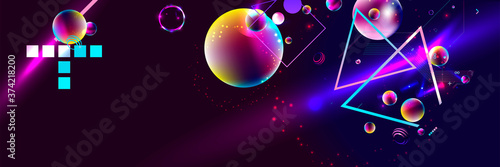 Dark retro futuristic art neon abstraction background cosmos new art 3d starry s Tableau sur Toile