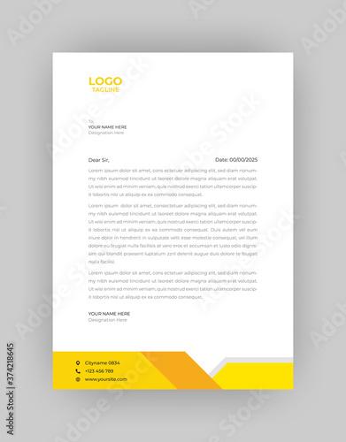 Photo Professional Letterhead Template in flat style, letterhead set or bundle