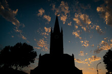 Church Tower At Sunset