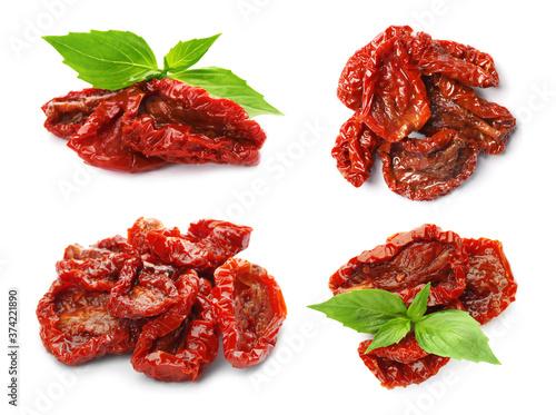 Fotografie, Obraz Set of tasty sun dried tomatoes on white background