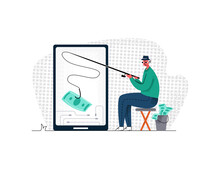 Vector Flat Illustration Metaphor With Man Who Is Fishing For Bills Of Money From Mobile Phone. Concept Earning And Working Online, Freelancing, Remotely, Cash Winnings Via Internet.