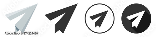 Paper plane icon logo flat design collection Canvas Print