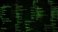 Abstract Computer Monitor With Moving Symbols. Animation. Green Linux Terminal Commands On Black Background, Conept Of Operating Systems And Technologies.