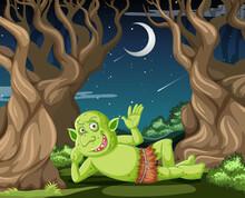 Goblin Or Troll Lying In The Forest Cartoon Style Scene
