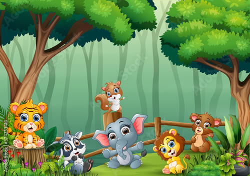 A group of baby animals playing inside the wooden fence #374233414