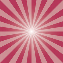 Red Sunburst Backdrop. Rectangular Deep Red Background. Sun Rays Pattern. Hibiscus Red Sunbeam Background Design For Various Purposes.