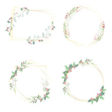 Watercolor Christmas Leaf And Red Berry Wreath With Golden Frame Glitter Collection