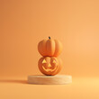 canvas print picture Halloween concept, Two pumpkin on orange colors background, minimal style, 3d render