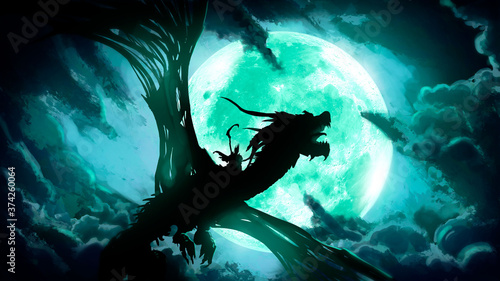 Fotografie, Tablou The silhouette of a dead dragon with huge wings, flying against the background of a huge green moon in the clouds, on its back a rider with a scythe
