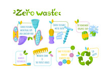 Personal Hygiene Zero Waste Set. Symbol Of Recycling, Reusable Items And Go Green Instructions. Vector Illustration In Cartoon Style