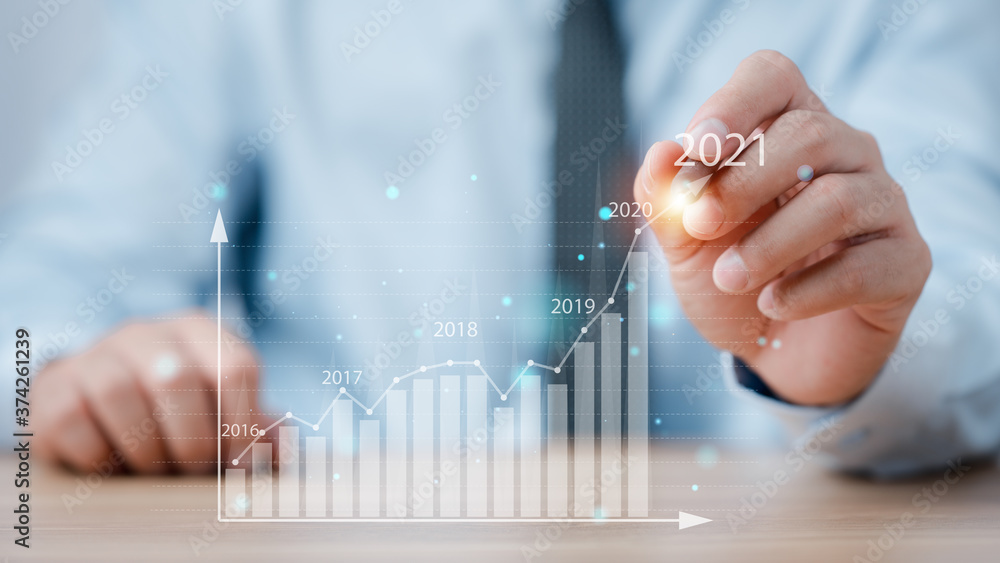 Fototapeta Business analytics and financial concept, Plans to increase business growth and an increase in the indicators of positive growth in 2021