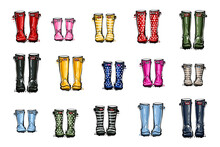 Different Colors Wellies Collection. Rubber Boots Autumn Fall Home Family Concept. Vector Illustration In Watercolor Style. Decoration Seasonal Card On White Background.