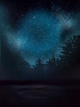 Starry Night Sky With Silhouet...