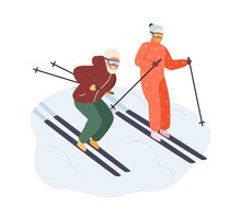 Active Mature Couple In Sportswear Ride On Ski Vector Flat Illustration. Happy Man And Woman Enjoying Outdoor Winter Physical Activity Isolated On White. Family Spending Time Together Doing Sport
