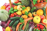composition of fruits and vegetables top view