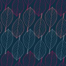 Vector Pink Grey Leaves Dark Seamless Pattern