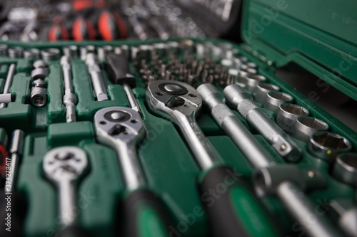 Sockets heads and other tools in the toolkit. High quality photo Billede på lærred