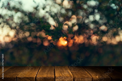 Empty wooden deck table with foliage bokeh background Canvas