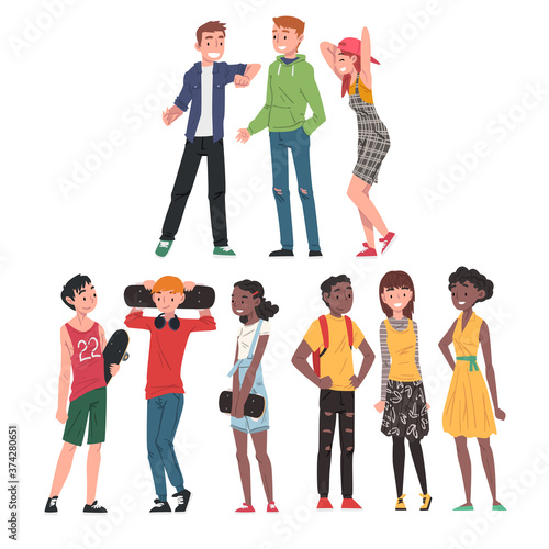 Happy Teenagers Set, Cheerful Teen Boy and Gilrs Wearing Fashionable Clothes, Happy Students, Classmates or Friends Positive Characters Cartoon Style Vector Illustration