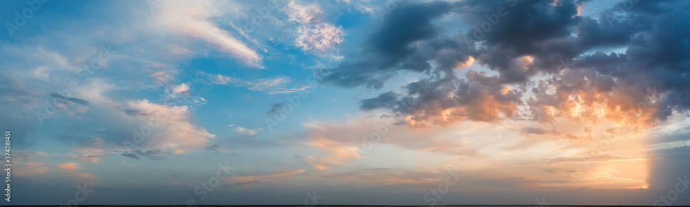 Fototapeta Panorama, cloudy sky at sunset. Pink clouds.