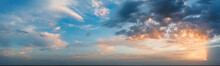 Panorama, Cloudy Sky At Sunset...