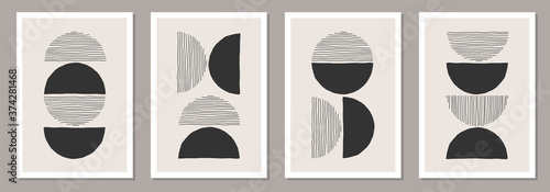Fototapeta Trendy set of abstract creative minimalist artistic hand drawn compositions obraz