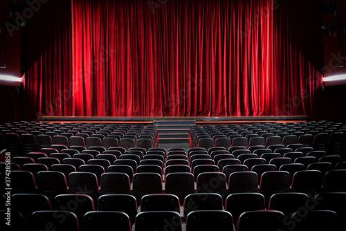 Canvas Darkened empty movie theatre and stage