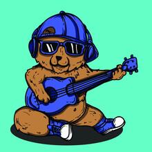 Artwork Illustration And T-shirt Design Bear Character With Guitar Premium Vector